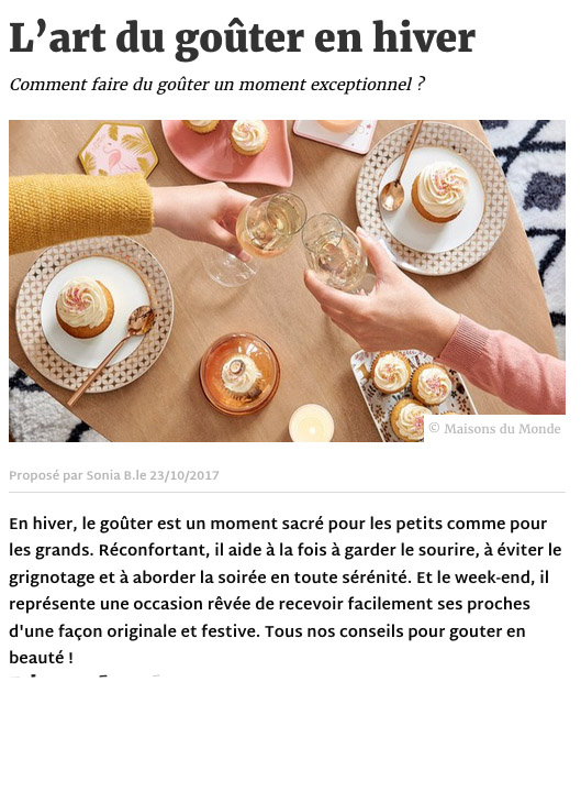 Article Deco.fr gouter - communication editoriale production de contenus