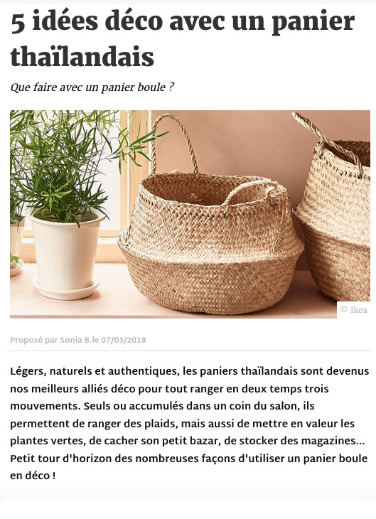 Article Deco.fr panier boule thai - communication éditoriale production de contenus